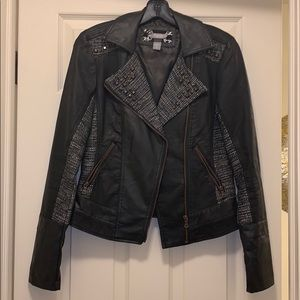 Leather Bomber with Tweed and Studs Detail